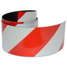 FLURO Magnetic Reflective Tape 1M x 75mm x 0.8mm Hi-Vis Red and White Stripe