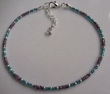 Large Anklet Glass Pearl Bead Silver White Black Rainbow Wedding Bloated Fat Jewellery & Watches