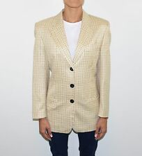 Yellow Check Wool Blend PETITE MADEMOISELLE Hips Length Blazer Jacket Size L