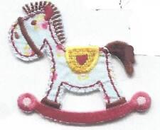 Blue Multi Satin & Embroidered Rocking Horse Iron On Applique x 2