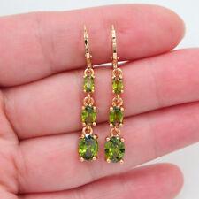 18K Yellow Gold Filled Women Green Topaz Teardrop Dangle Earrings Jewelry