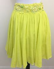 FLOREAT Stellina Skirt ANTHROPOLOGIE Yellow White Green Embroidered Small