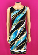 CACHE Sheath Dress SIZE 14 Blue Gold Chains Leopard Animal Print Bodycon Sexy