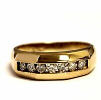 14k yellow gold .42ct SI3-I1 I mens wedding diamond band ring 6.3g gents