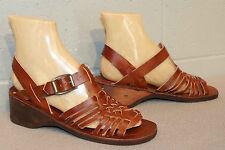 1da3816ae77d Fits 6.5 NOS Brown Huarache Leather VTG 70s T-Strap Wood Wedge Heel Sandal  Shoe