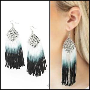 Paparazzi Earring - Dip In Black fringe tassel Ombre Colored