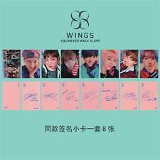 BTS BANGTAN BOYS Wings Lomo Cards JIMIN V SUGA J-HOPE Signature Photocards 8pcs