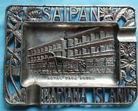 Vintage Cigarette Ashtray Royal Taga Hotel Saipan Mariana Islands Brass Tiki