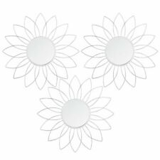 Set of three flower shaped wall mirrors with metal frame in silver colour