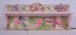 vtg wooden wall hanging Shelf 3 Hooks Keys coats floral pink shabby hobo girls