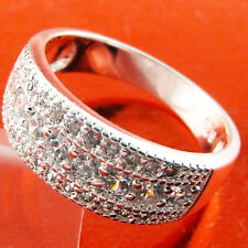 RING GENUINE REAL 925 STERLING SILVER S/F LADIES DIAMOND SIMULATED BAND US 8