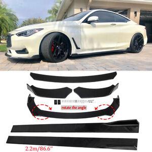 """Front Bumper Lip Spoiler Splitter +86.6"""" Side Skirt For Infiniti Q50 Q60 Q70 G25"""
