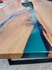 Epoxy Resin Table , Live Edge Epoxy Resin River Table , Oak Table