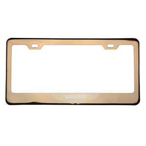 Rose Gold Laser Etched Aston Martin Logo License Frame Cap T304 Stainless Steel