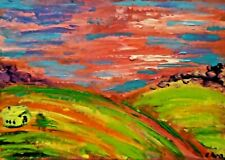 Original ACEO - Abstract landscape - miniature acrylic painting