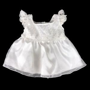 Build A Bear White Dress - Satin Lace Tulle - Wedding Communion Baptism