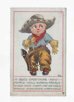 Vintage Postcard **COWBOY **Comic ** Artist Signed * Wall