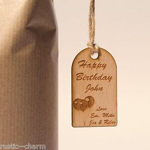 Rustic Wooden Happy Birthday Gift Tag With Engraved Personalised Message.