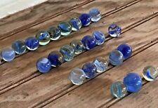 Vintage Lot of 25 Caged Cat's Eye Marbles Dark & Light Blue