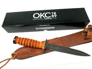"""Ontario WWII M3 Trench Knife Fixed 6.875"""" Blade, Leather Handle, Leather Sheath"""