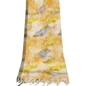 Sanskriti Vintage Dupatta Long Stole Pure Cotton Yellow Digital Printed Scarves