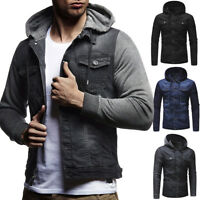 Men's Slim Fit Denim Hoodies Vintage Jean Hooded Sweatshirts Coat Jacket Outwear