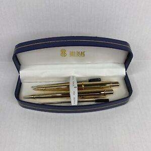 Bill Blass Pen & Mechanical  Pencil Set w/ Refills Gold Tone -New Old Stock