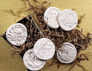 6 Art Clay Molds Impress Design Stamp Create Patterns in Polymer, Paperclay, PMC