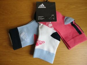 Girls Adidas Ankle Socks 3 Pack Kids Size 7.5 to 1 BNWT FREEPOST
