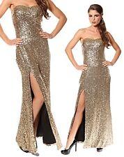 Vestito donna abito lungo oro paillettes profondo spacco sera smanicato nuovo @
