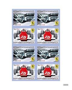 St. Vincent 2010 - SC# 3692 Ferrari, Cars, Racing, Auto - Sheet of 8 - Perf -MNH