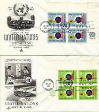 UNITED NATIONS 1965 SPECIAL FUND IN PLATE BLOCKS OF 4 ON 2 FIRST DAY COVERS