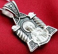 RUSSIAN GREEK ORTHODOX PENDANT SILVER 925.MOTHER OF GOD VIRGIN MARY ICON. PRAYER