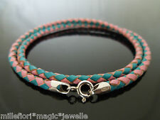 """3mm Pink/Turquoise Braided Leather Sterling Silver Necklace Or Wristband 16"""" 18"""""""