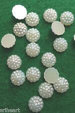 50 AB Ivory Pearl Flatback Cabochon Beads Wedding Craft Embellishments 12mm - F5