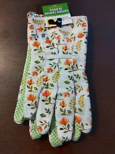 New True Living Outdoors Orange Floral White Canvas Garden Gloves Rubber Grip