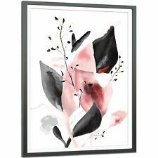 Blush Pink Grey Flower Floral Framed Wall Art Picture