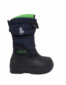 Polo Ralph Lauren Toddler AVALANCHE ZIP Winter Boots Navy/Lime 992398I a1