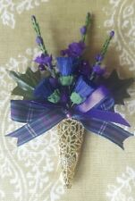 Scottish Thistle and Heather buttonhole corsage.Magnetic Gold / Silver.Tartan