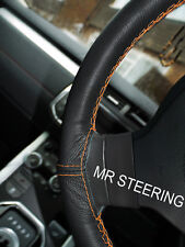 FOR 95+ RENAULT MEGANE I TRUE LEATHER STEERING WHEEL COVER ORANGE DOUBLE STITCH