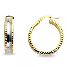 14k Yellow & White Gold Round Hoops Diamond Cut Earrings Polished Fancy Genuine