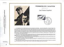 FEUILLET PHILATELIQUE  SUR LES PIONNIERS DE L'AVIATION  LES FRERES CAUDRON