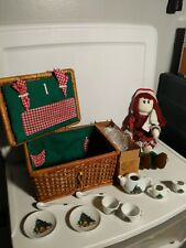 Tea Set in Wicker Picnic Basket vtg Porcelain with Doll Christmas Teddy Bear