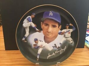 Sandy Koufax autographed plate.1984 Hackett American excellent great auto.