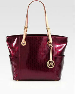 michael kors patent leather shiny red maroon very nice purse shoulderbag