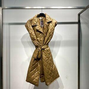 Gilet lungo smanicato donna cappotto no manica trapuntat imbottito piumino 21544