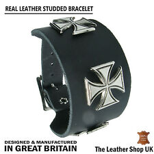 German Cross Metal Stud Fitting Leather Cuff Wristband Bracelet Made In England