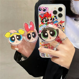 For IPhone 13 12 11 Pro Max XS 7 8+ Cartoon The Powerpuff Girl Stand Holder Case
