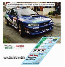 DECALS 1/43 SUBARU IMPREZA WRC CUNICO RALLY SANREMO 2000