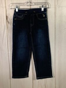 US Polo Assn Boys 4T Straight Jeans Dark Wash Pockets Drawstring Stretch Blue